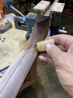 Heat-infused natural beeswax finish on Walnut